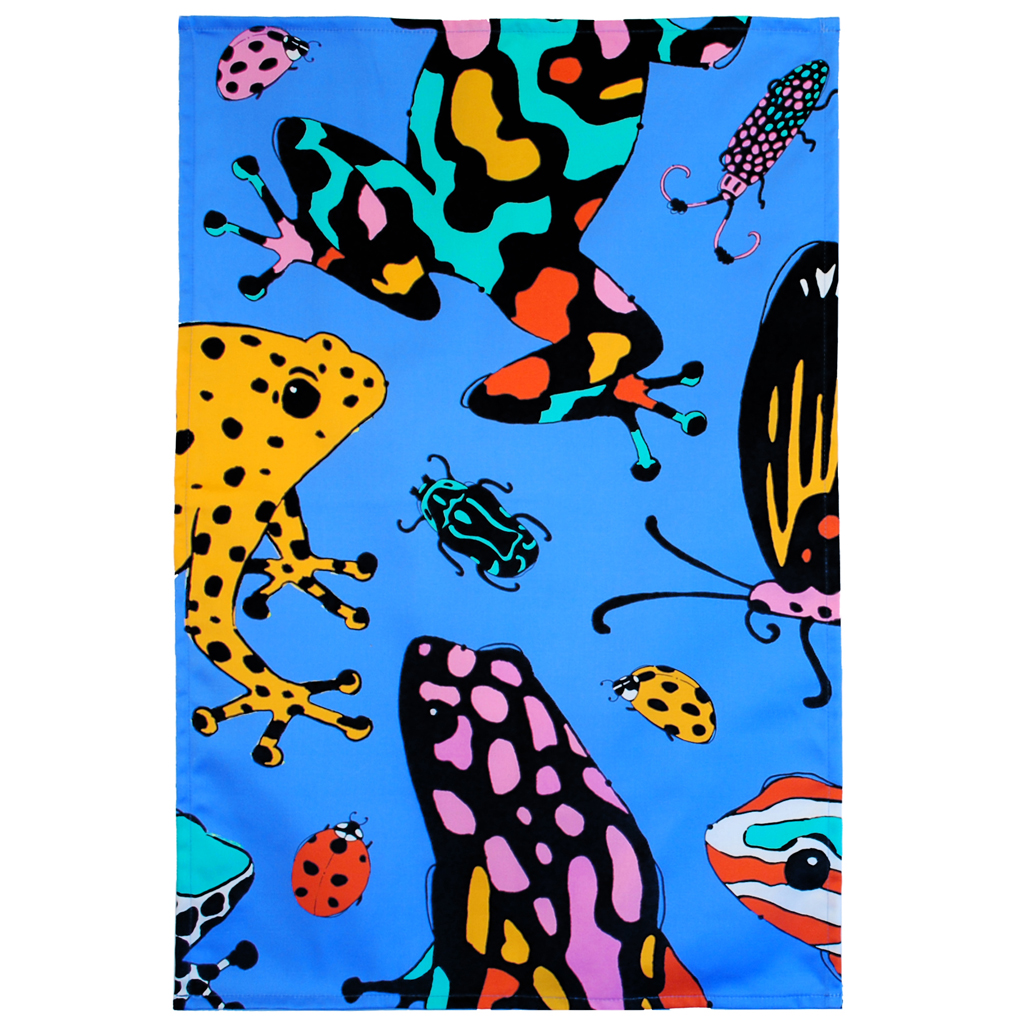 Frog and Bug Tea Towel 'Fatal Attraction Blue'