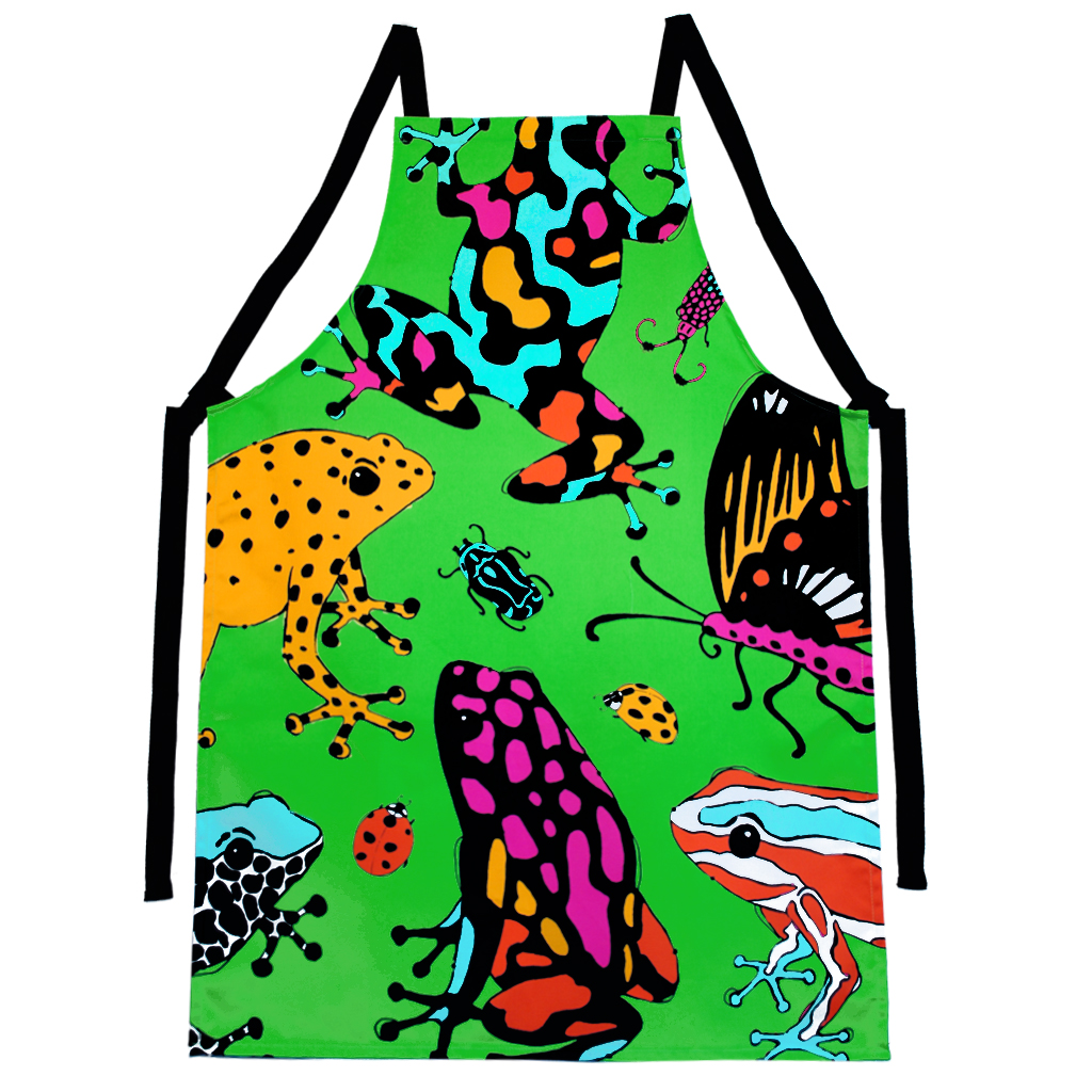 Frog and Bug Print Apron 'Fatal Attraction' Green