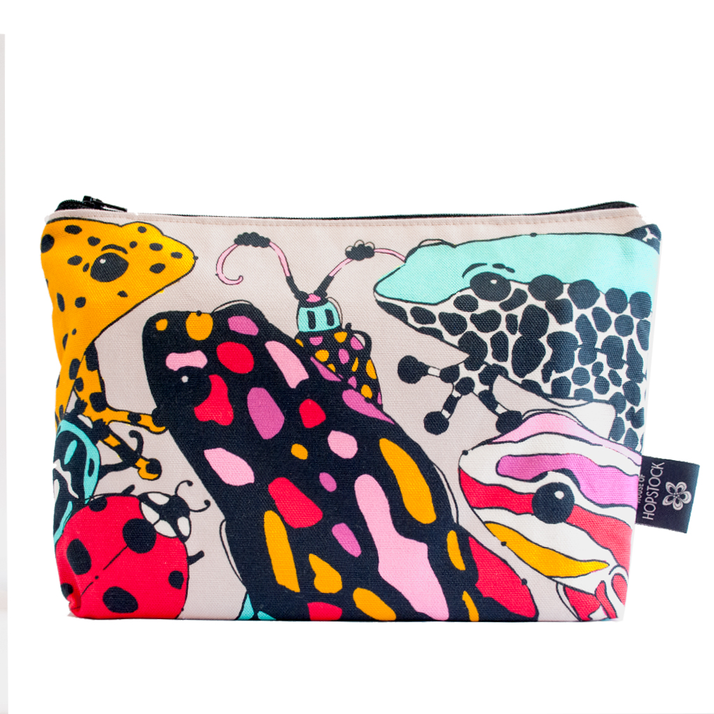Frog and Bug print Makeup Pouch 'Fatal Attraction Taupe'