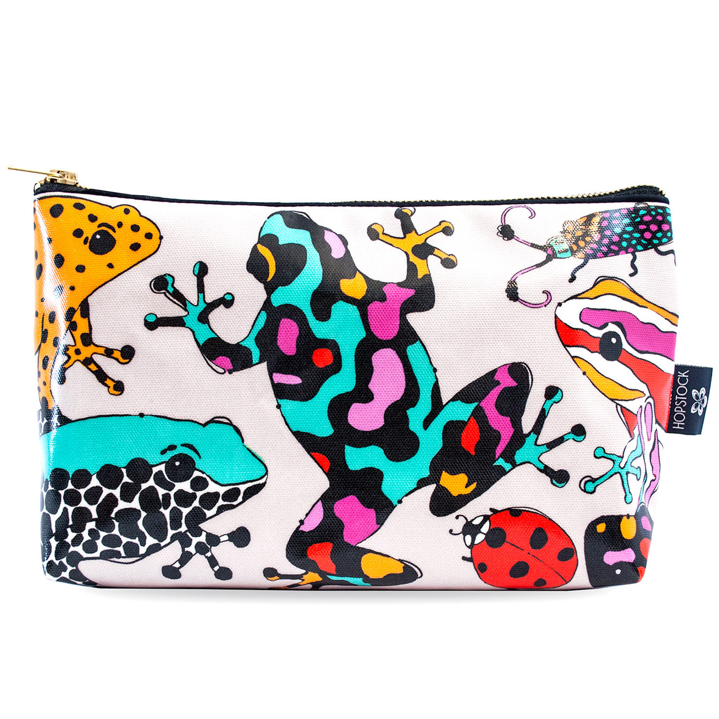 Frog Print Wash Bag 'Fatal Attraction Taupe' Large