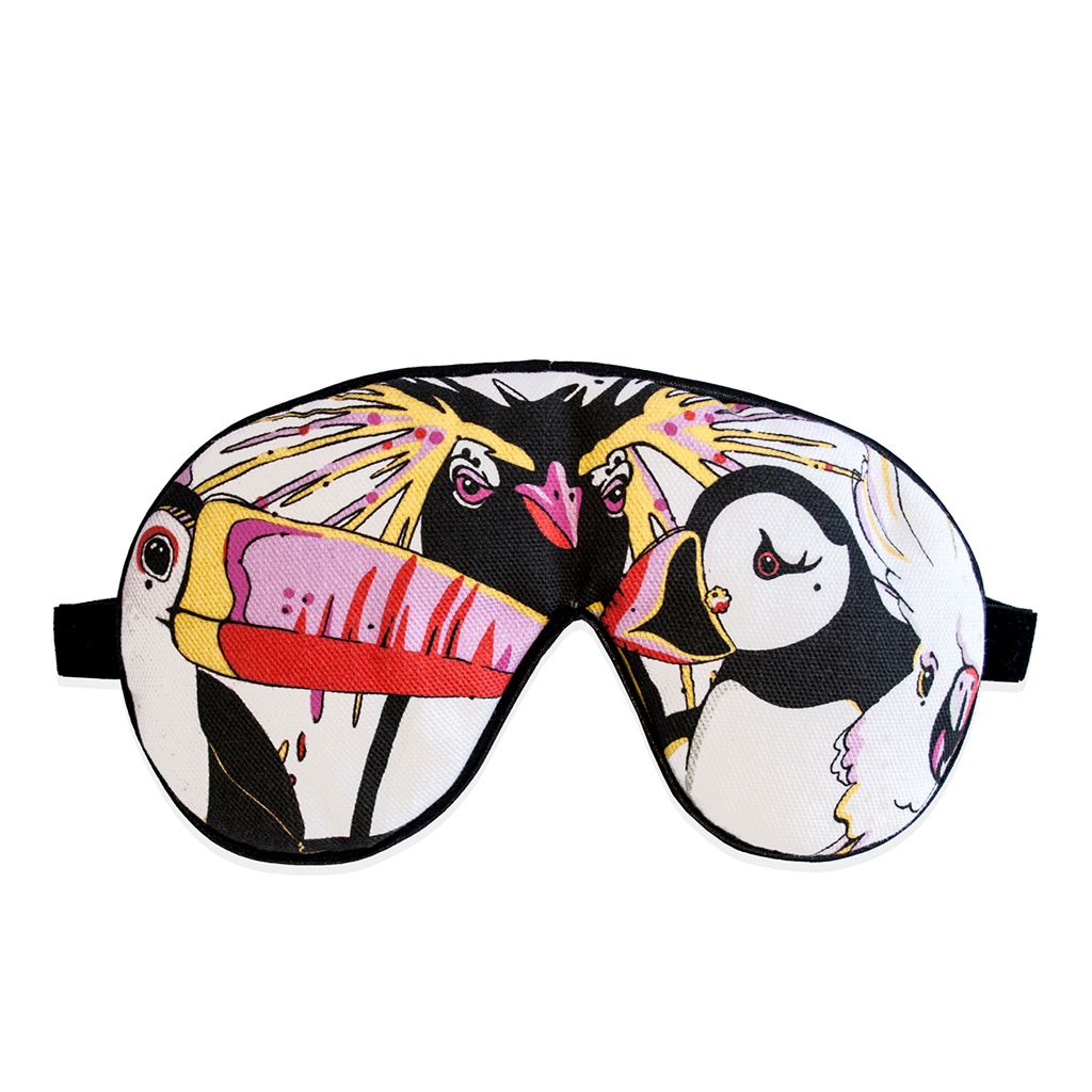 Bird Print cotton and velvet Eye Mask 'Rare Bird Canvas'