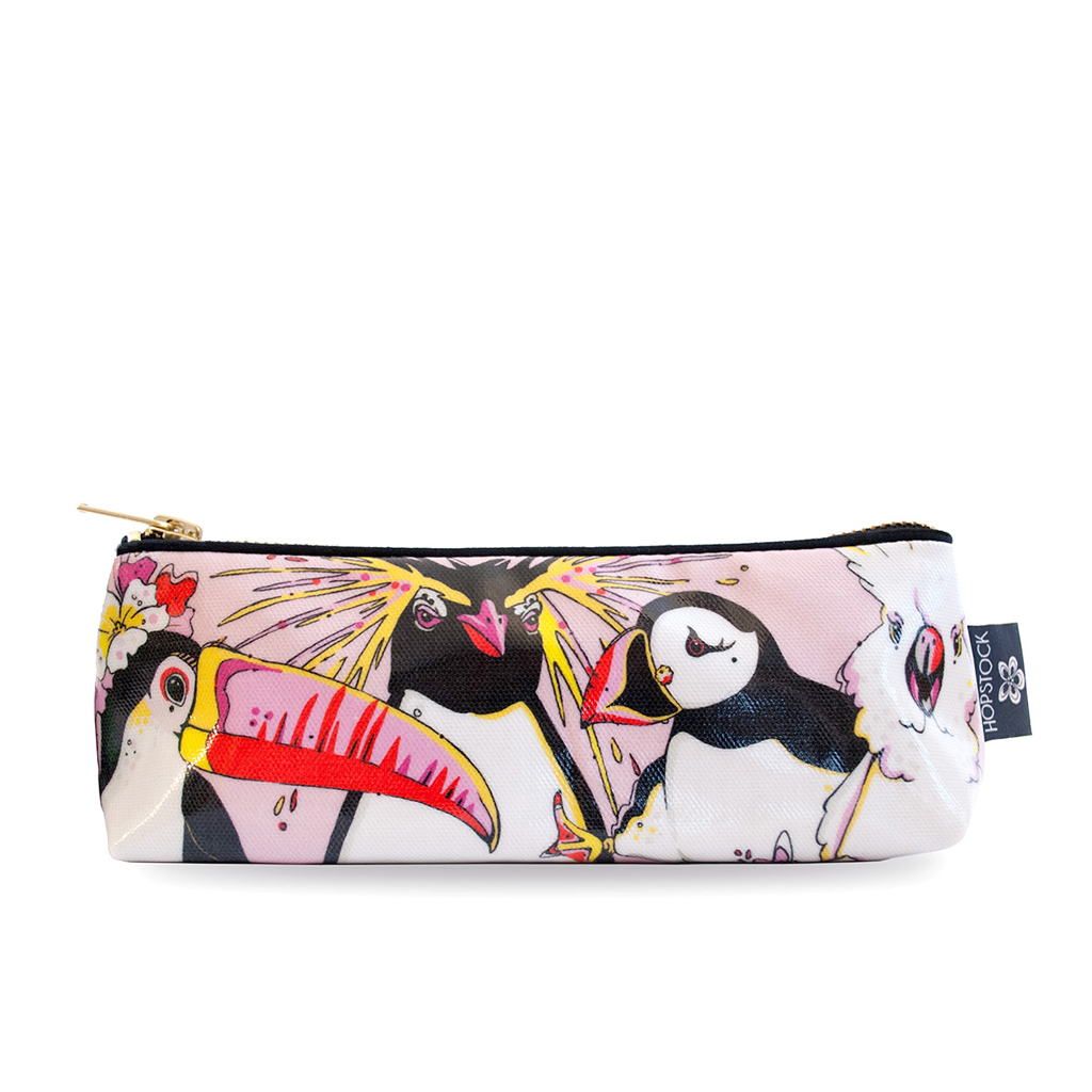 Bird Print Wash Bag 'Rare Bird Pink' Small