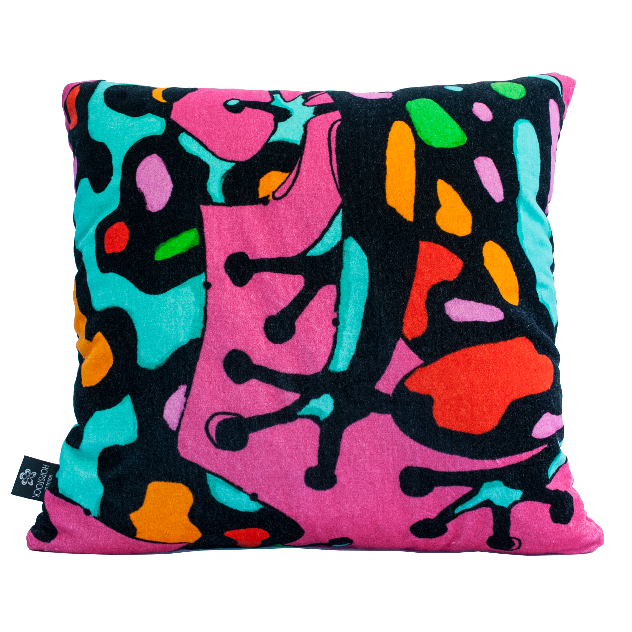 Abstract Frog Print Cushion Cover 'Fatal Attraction' Pink