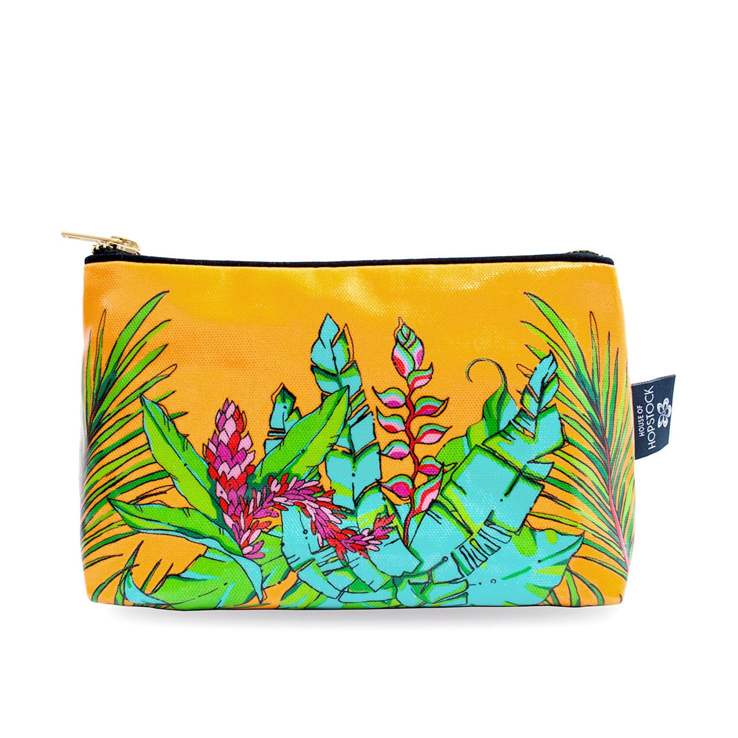 Palm Print Wash Bag 'Shangri La Orange' Medium