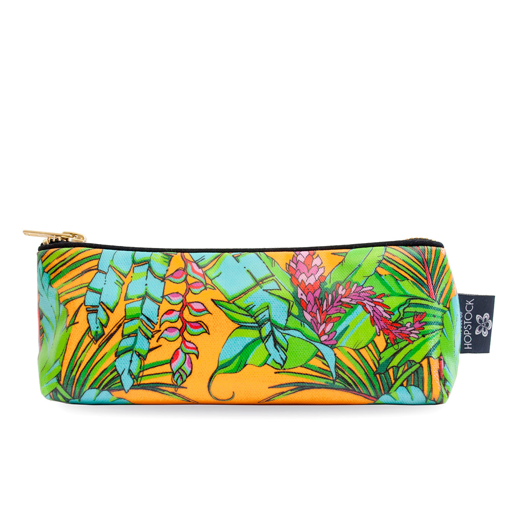 Palm Print Wash Bag 'Shangri La Orange' Small