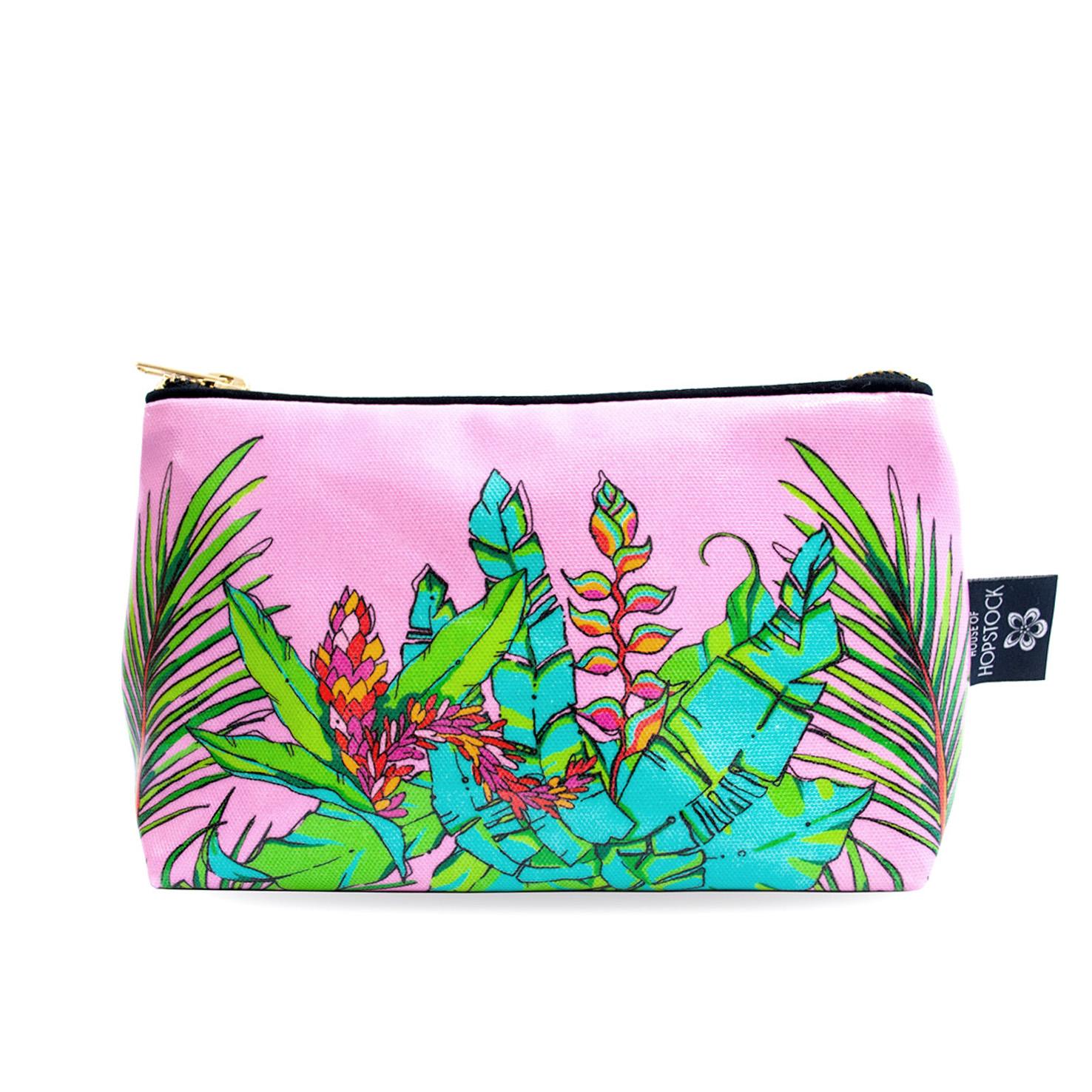 Palm Print Wash Bag 'Shangri La Pink' Medium