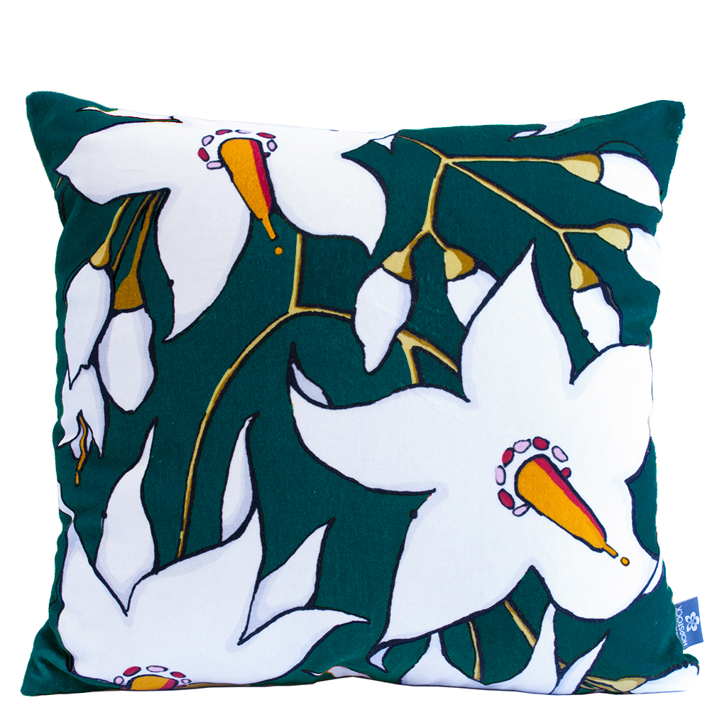 Floral Print Cushion Cover 'Deadly Bloom' DNS Teal