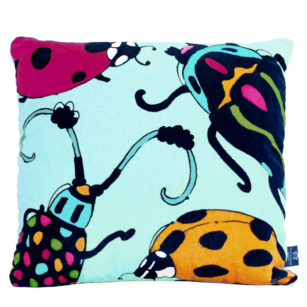 Beetle Print Cushion Cover 'Bugsy Malone' Mint