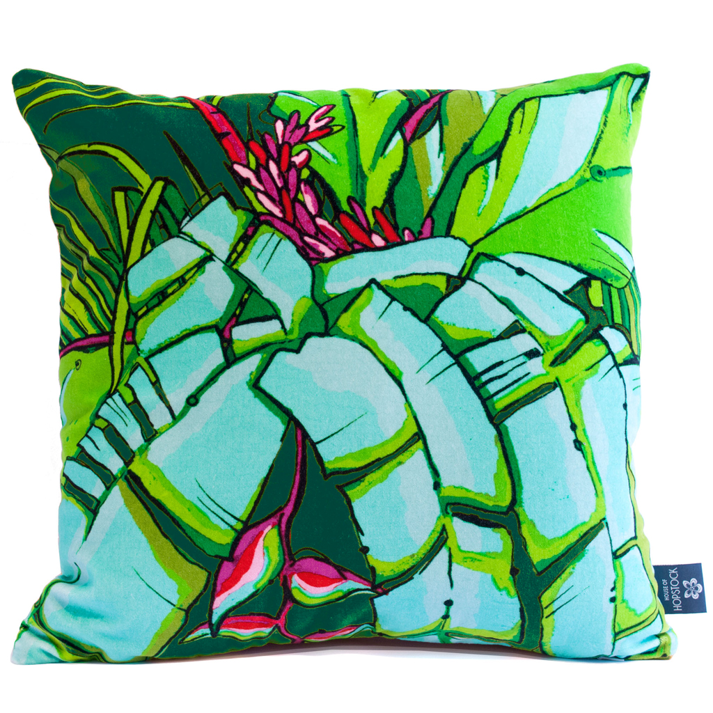 Tropical Palm Print Cushion Cover 'Shangri La Emerald'