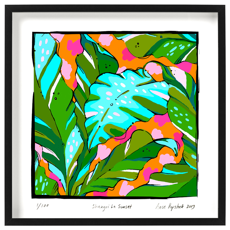 tropical palm print colourful giclee art print