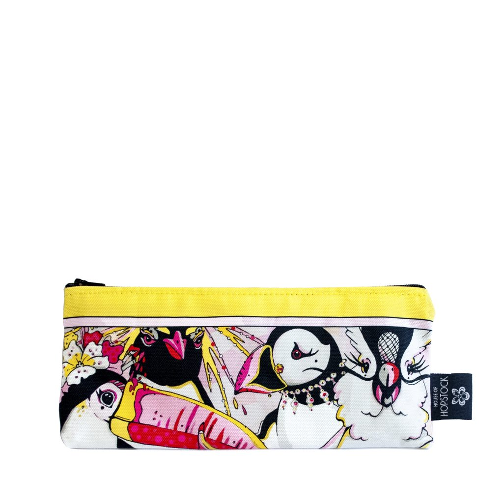 rare bird print brush bag pencil case
