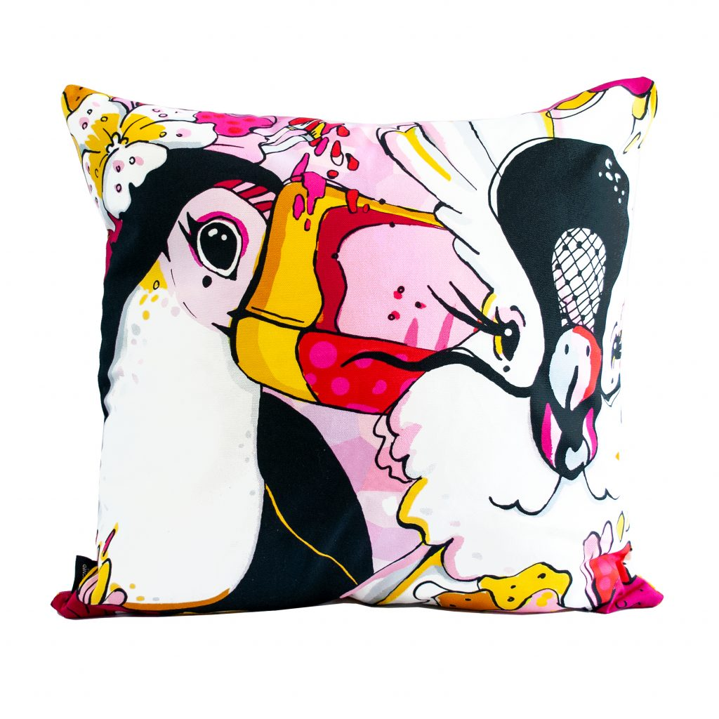 "toucan and parrot bird print cushion cover ""rare bird"""