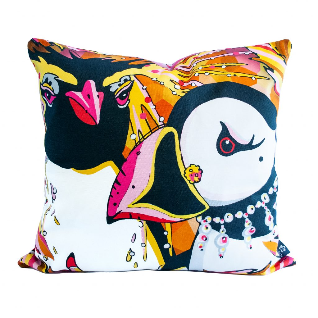 penguin puffin cushion cover rare bird