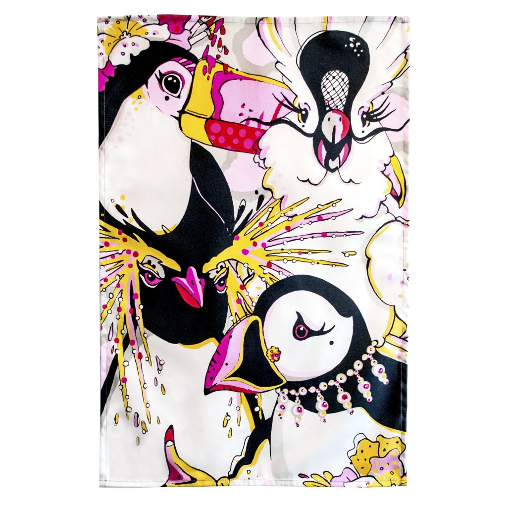 rare bird print tea towel playful toucan puffin parrot penguin