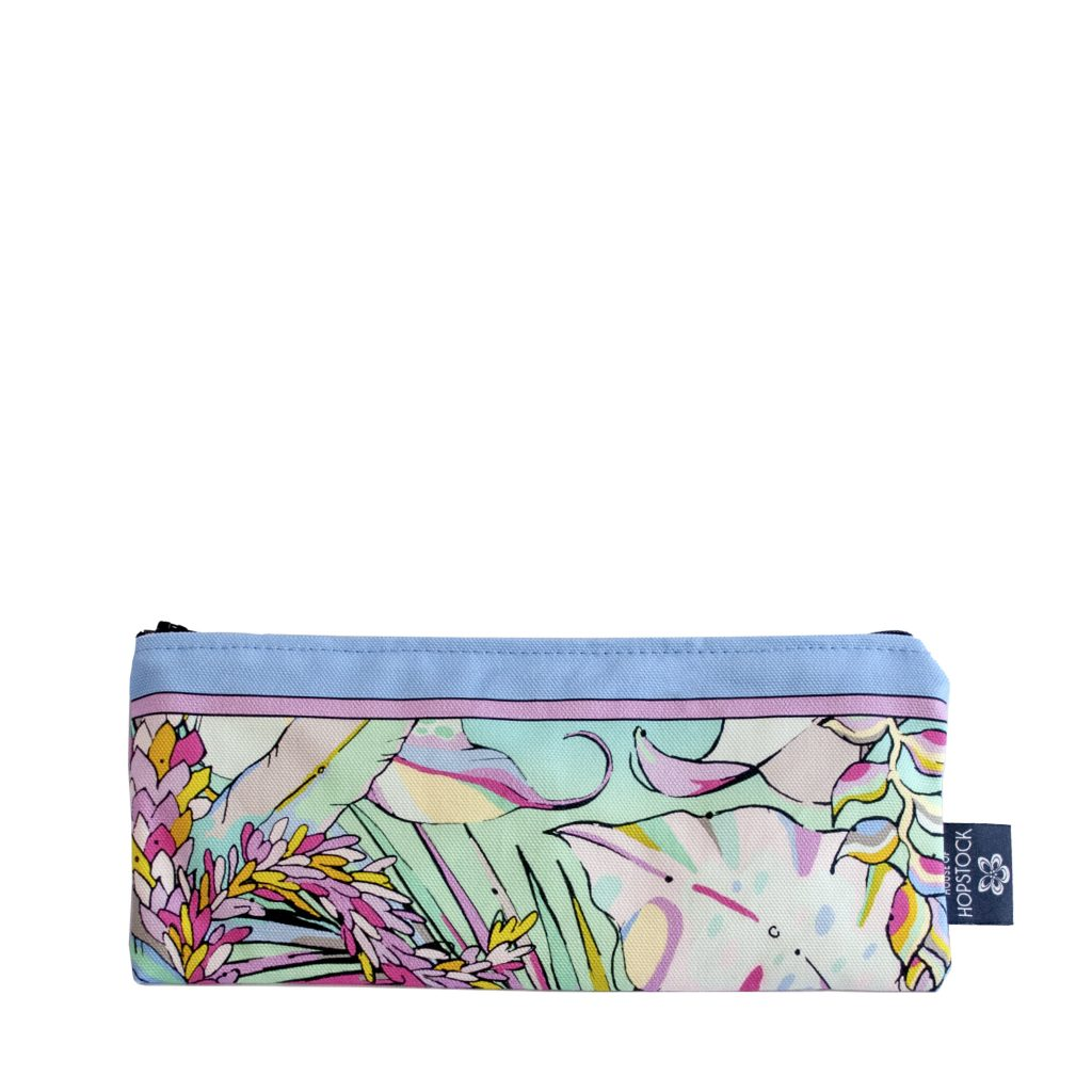pastel palm print brush bag pencil case makeup bag