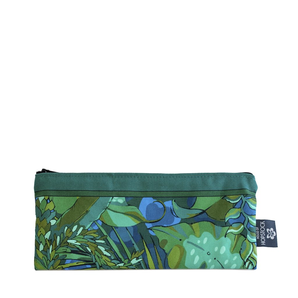 green blue palm print brush bag pencil case makeup