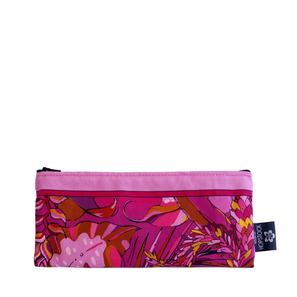 red and pink palm print brush bag pencil case makeup