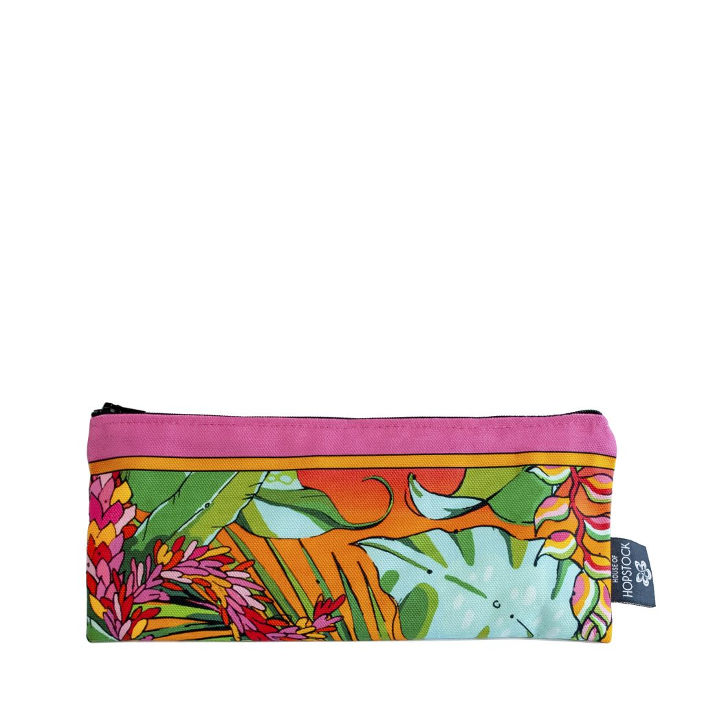 pink and orange tropical palm print brush bag pencil case makeup