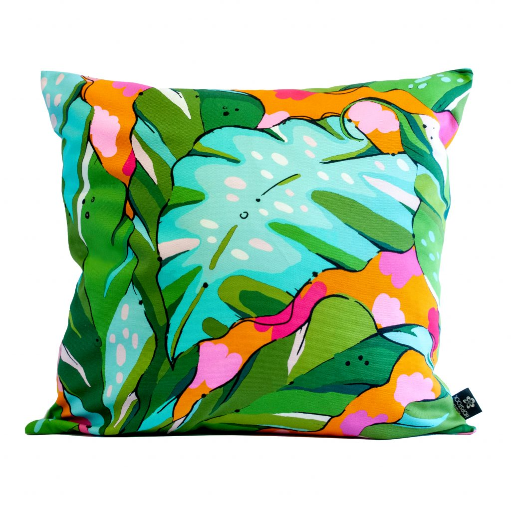 Colourful palm print cushion cover Shangri La Sunset