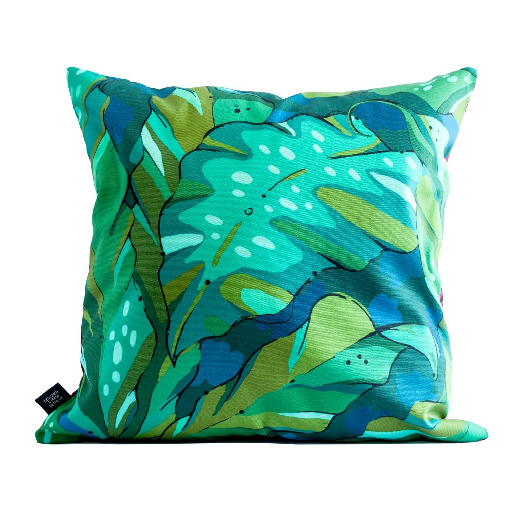 blue and green palm print cushion Shangri La jungle
