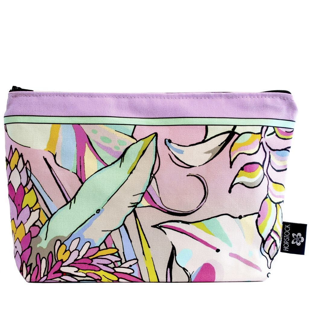 pastel tropical palm print makeup bag cosmetics pouch