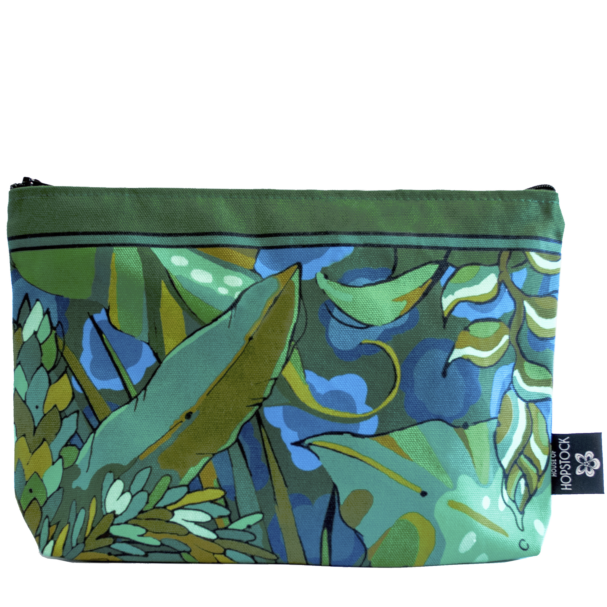 blue green tropical palm print makeup bag cosmetics pouch