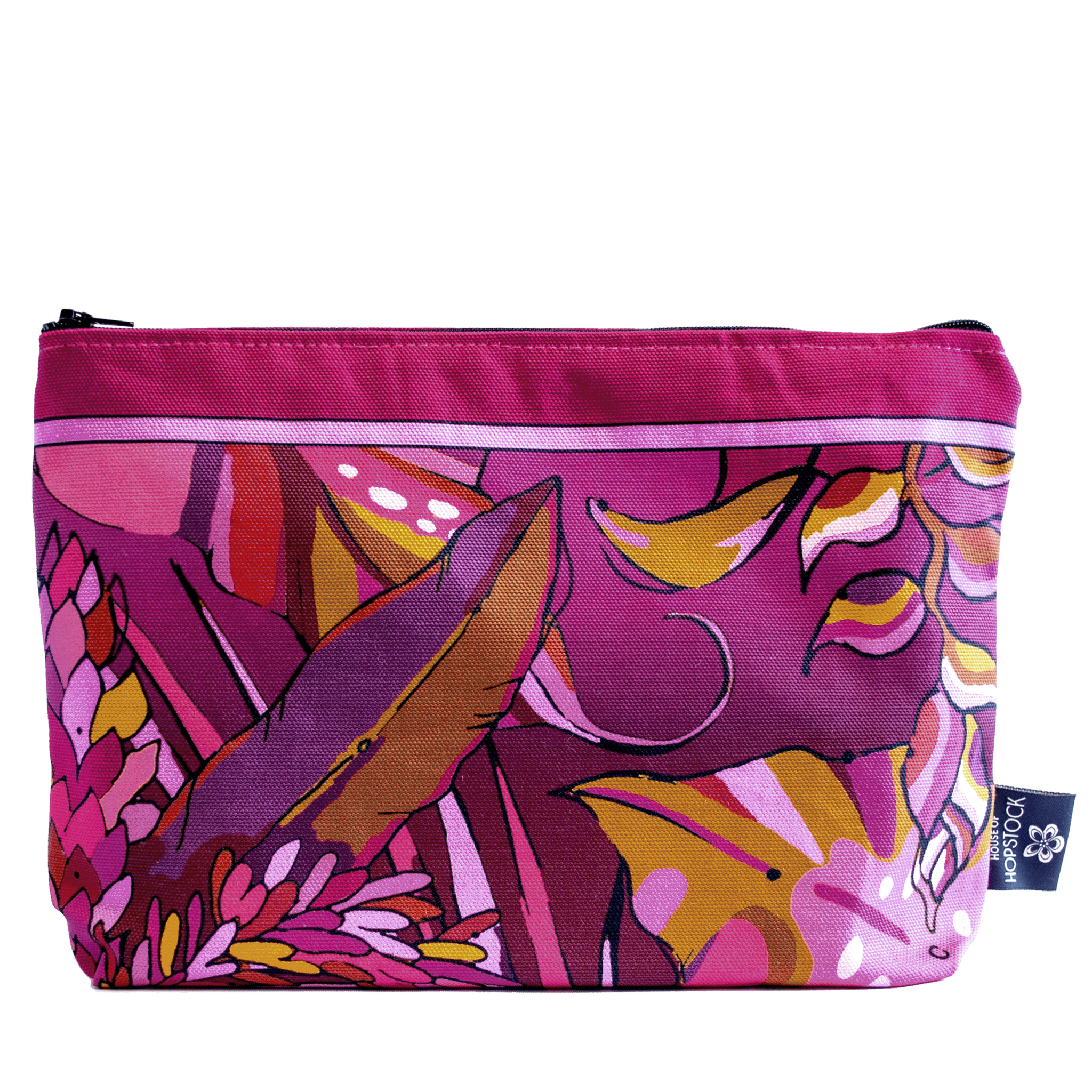 pink and red tropical palm print makeup bag cosmetics pouch