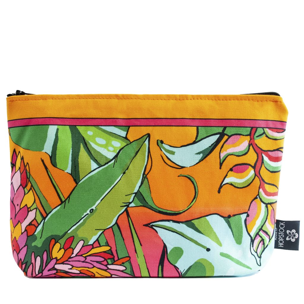pink orange tropical palm print makeup bag cosmetics pouch