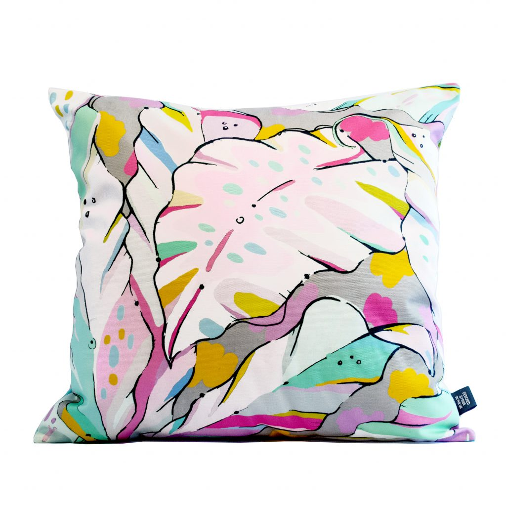 pastel palm print cushion cover shangri la dawn