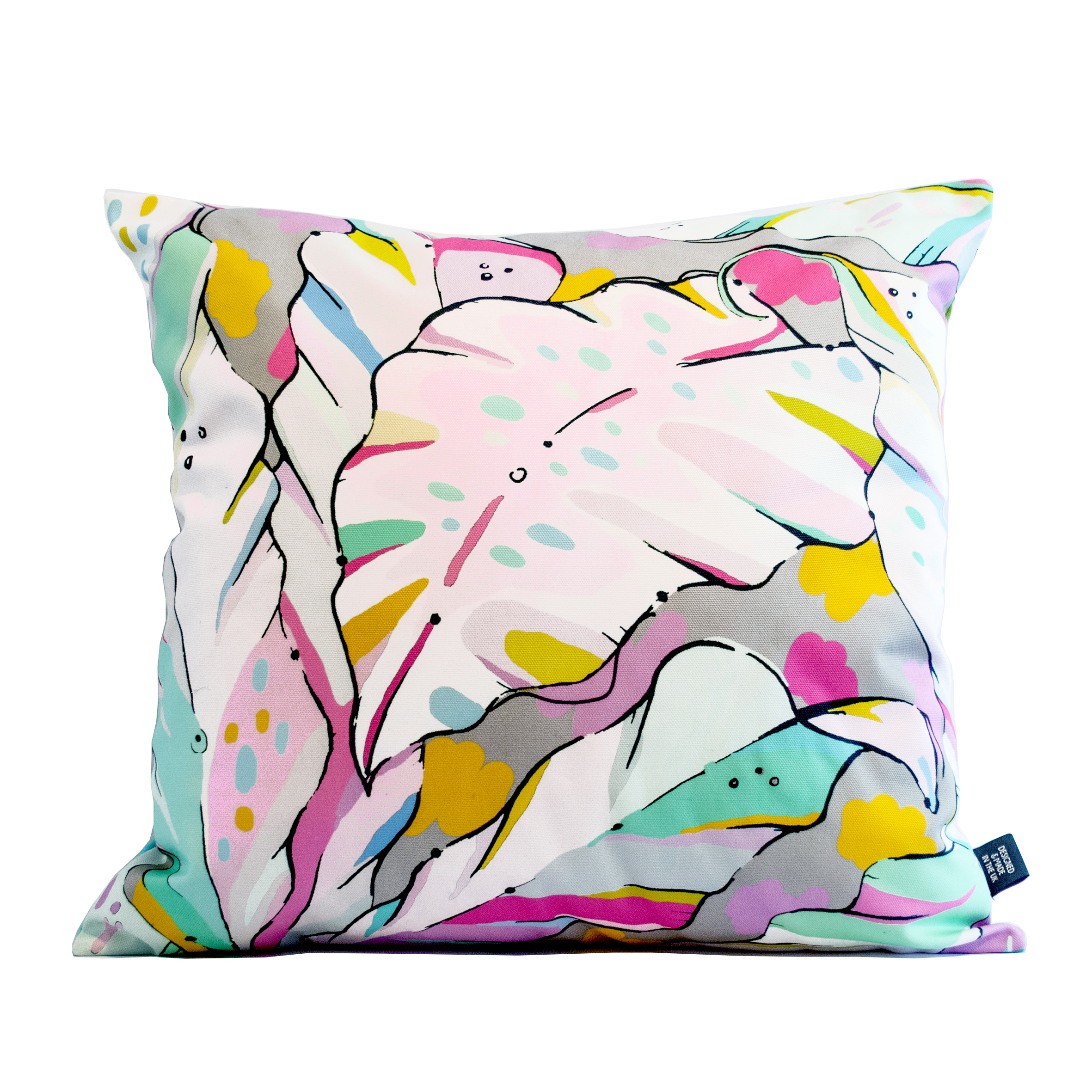 pastel palm print cushion cover shangri la dawn