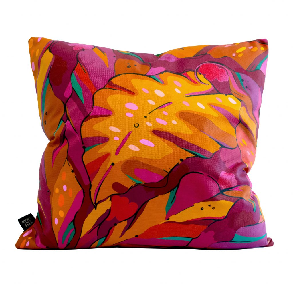 ruby red palm print cushion cover shangri la ruby