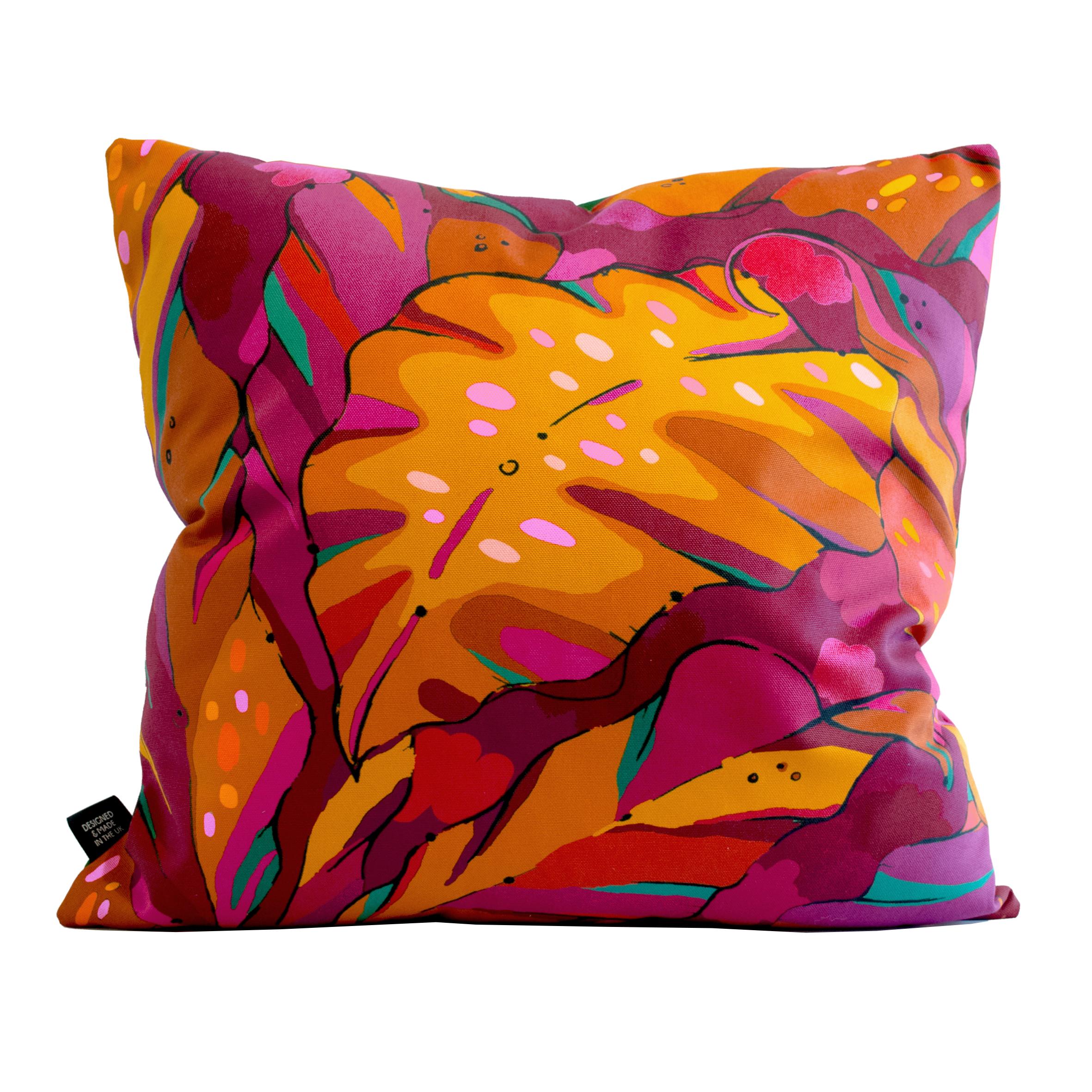 ruby red palm print cushion cover shangri la ruby