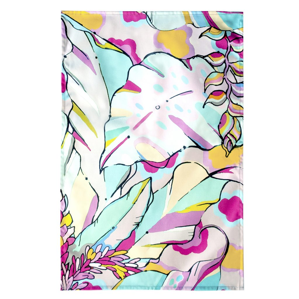 pastel tropical palm print tea towel