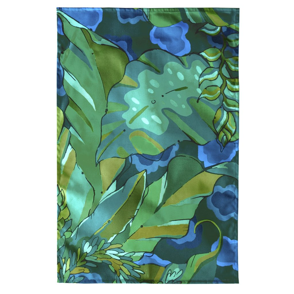 green and blue tropical palm print kitchen tea towel