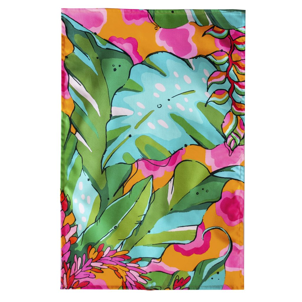 pink orange colourful tropical palm print tea towel