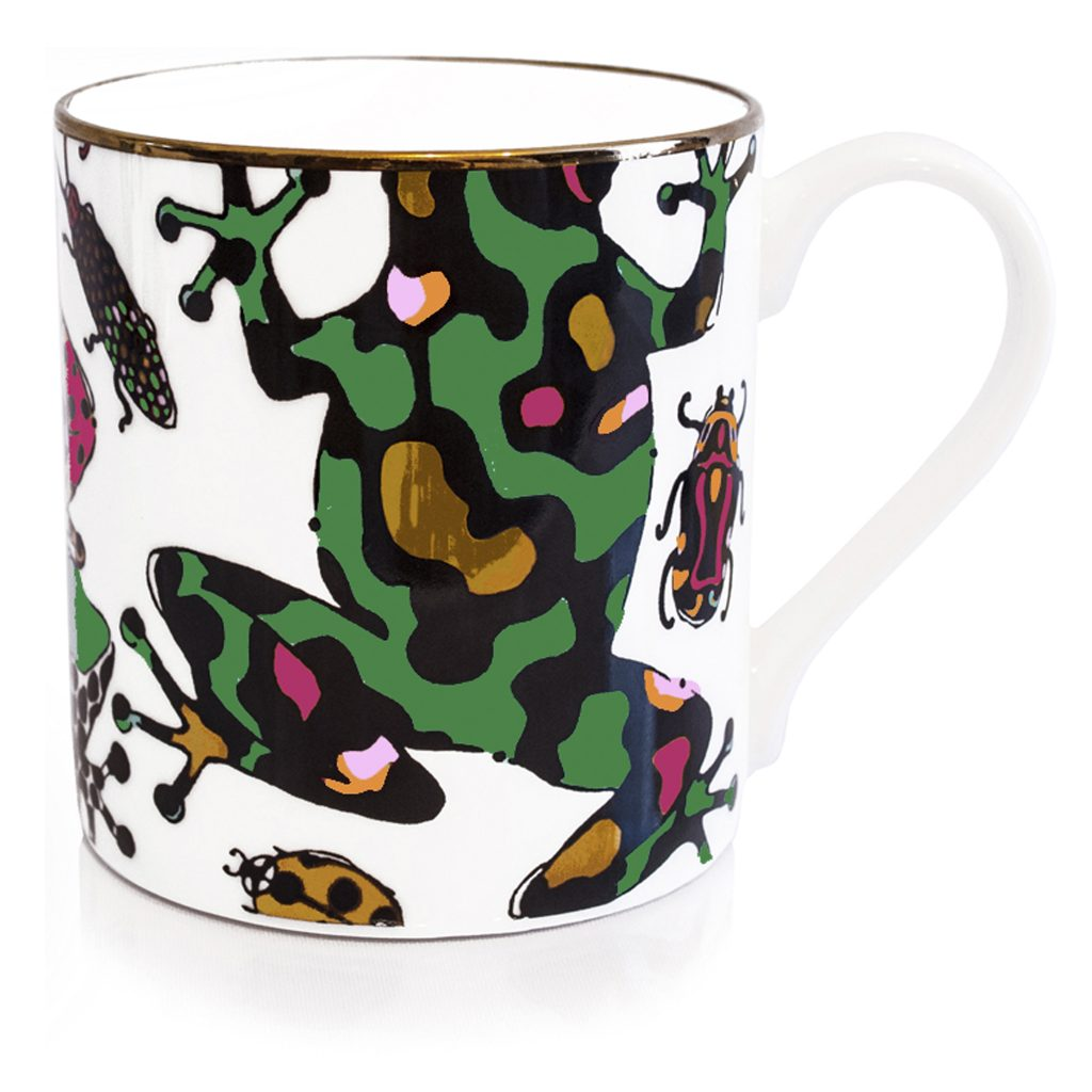 frog print fine bone china mug house of hopstock