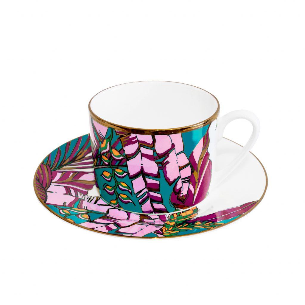 palm print fine bone china cup and saucer tea set house of hopstock