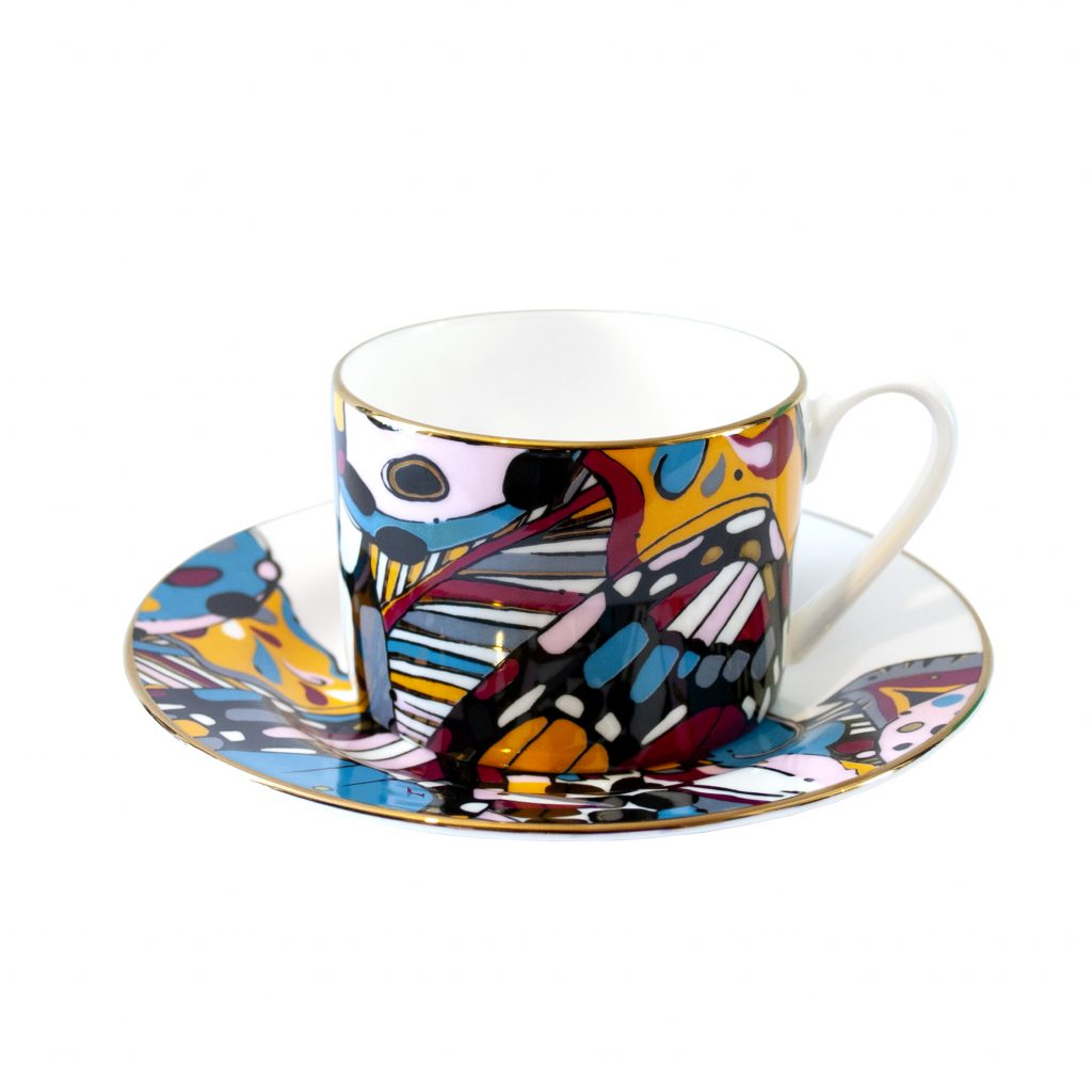 colourful collage print fine bone china cup and saucer tea set house of hopstock