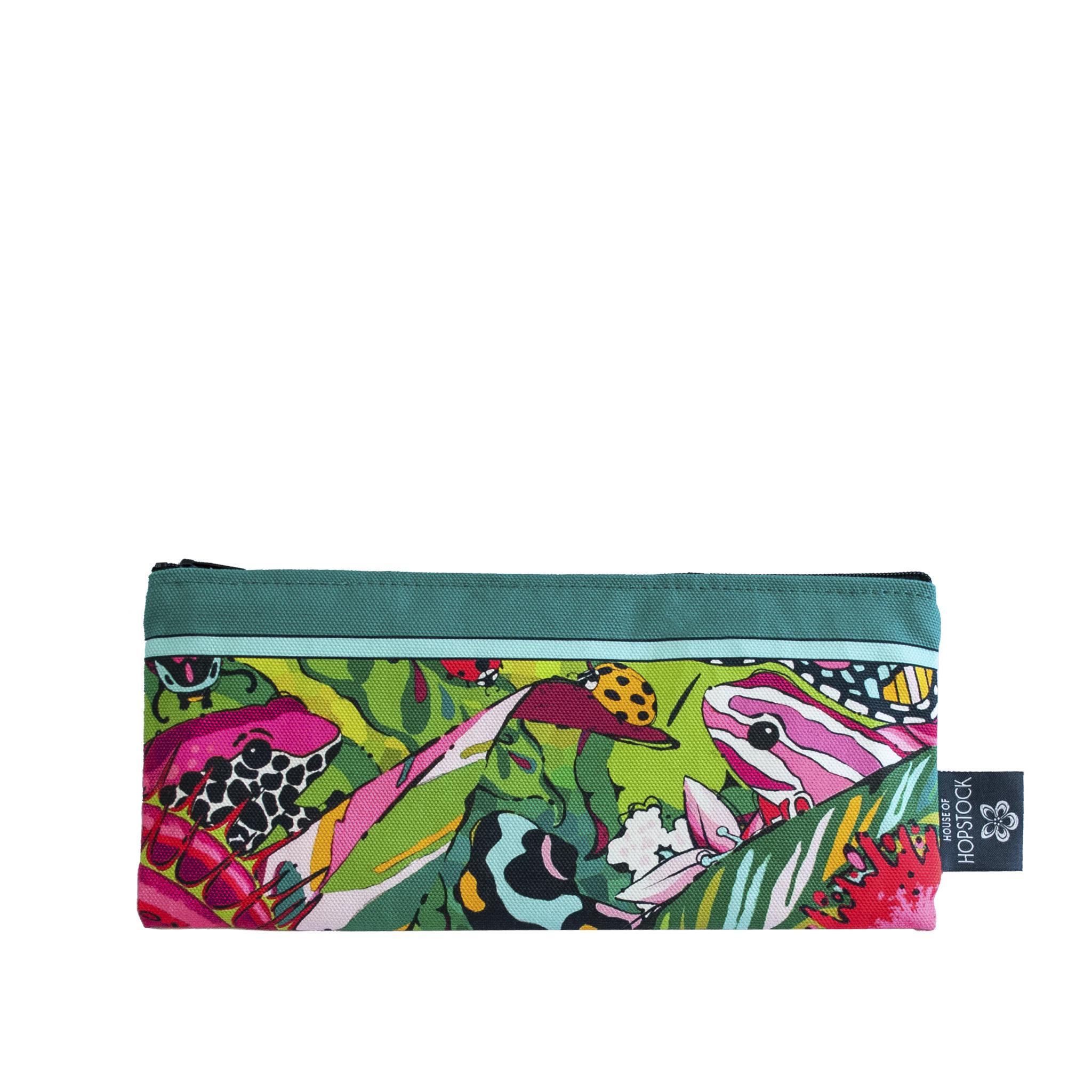 jungle frog print small makeup bag brush bag Fatal Attraction house of hopstock