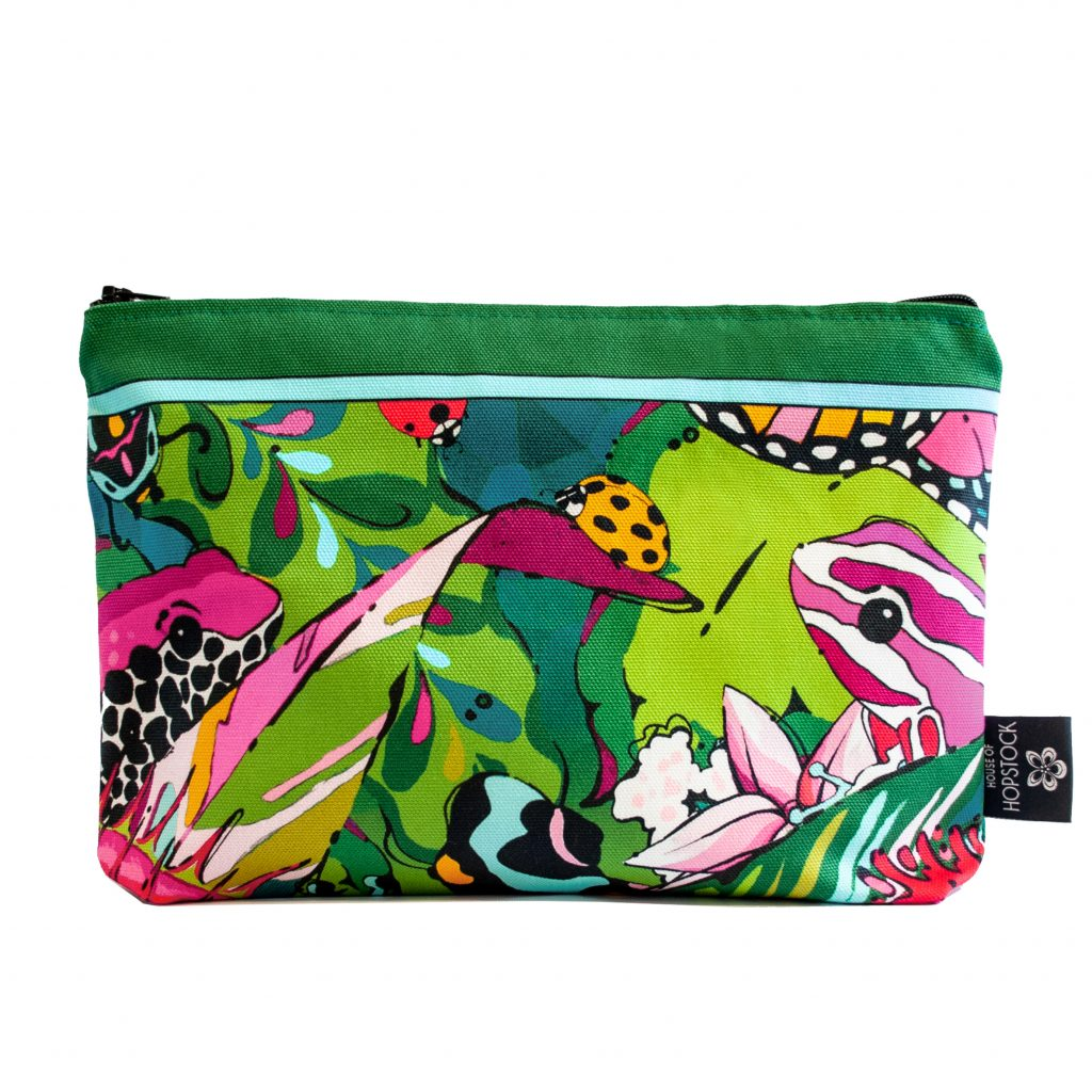 colourful jungle frog print makeup pouch fatal attraction house of hopstock
