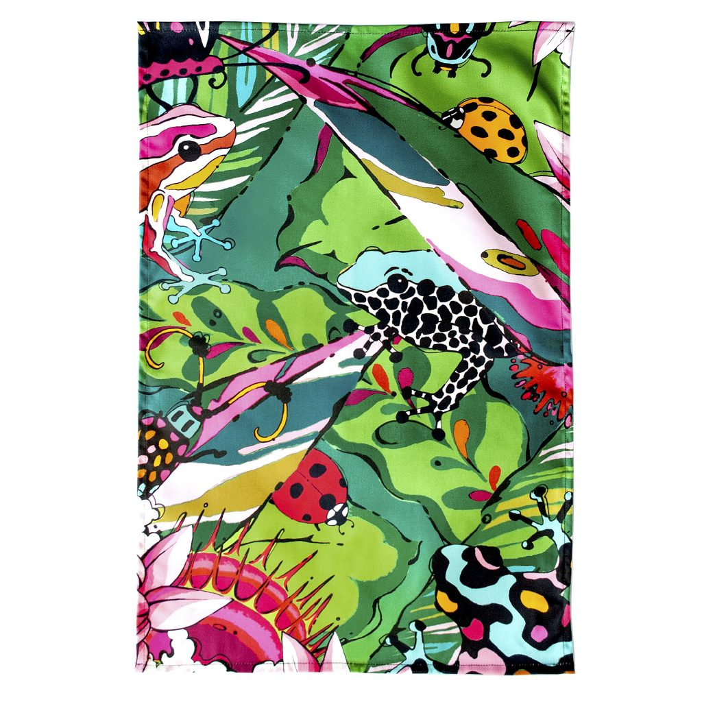 colourful jungle frog print tea towel dish towel house of hopstock