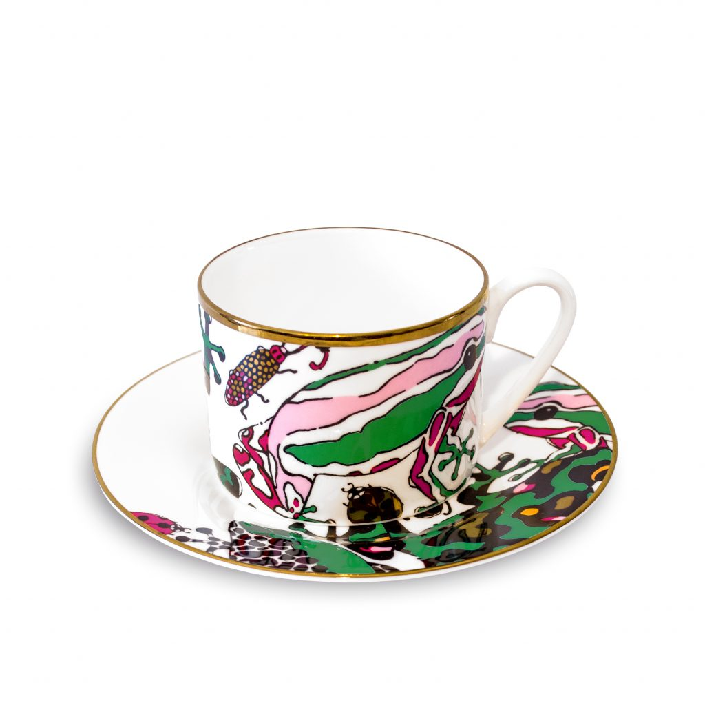 frog print fine bone china cup and saucer house of hopstock