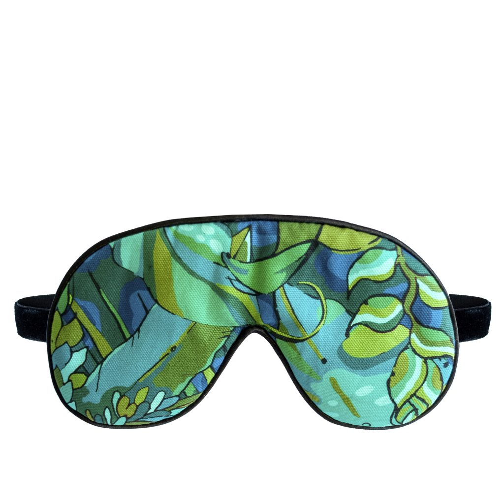 green verdant jungle palm print lavender luxury eye mask sleep mask house of hopstock