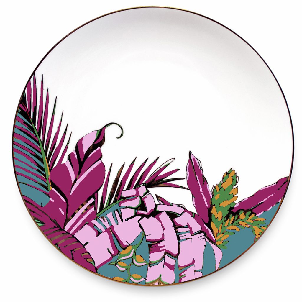 "Palm print china plate ""Harvest' in teal and magenta, with 24ct gold details. Microwave proof, designed and decorated in the UK."