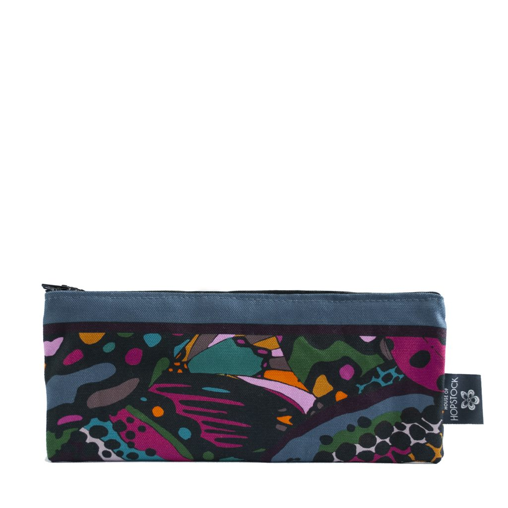 abstract art print brush bag makeup bag cosmetics bag house of hopstock collidoskope
