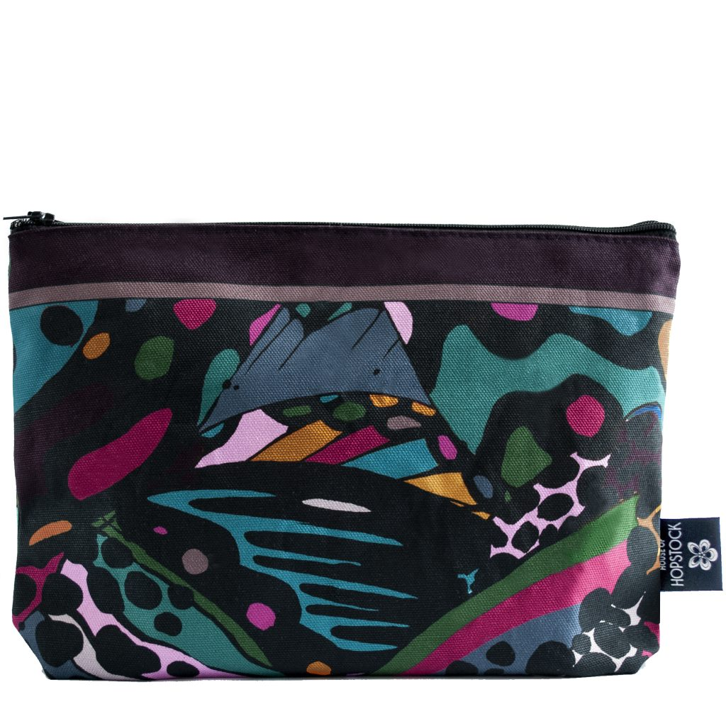 abstract art print makeup cosmetics wash bag collidoskope house of hopstock