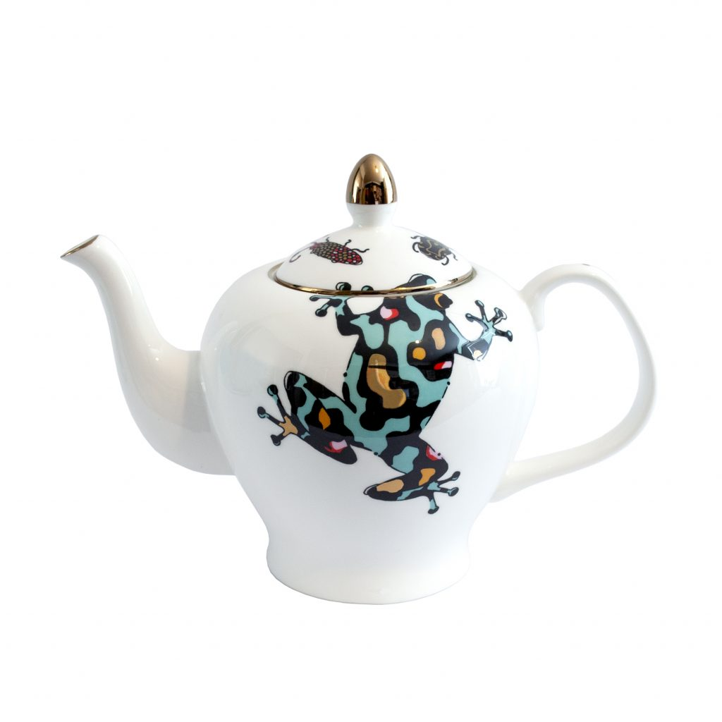 Colourful frog print china teapot. FIne bone china 22ct gold house of hopstock