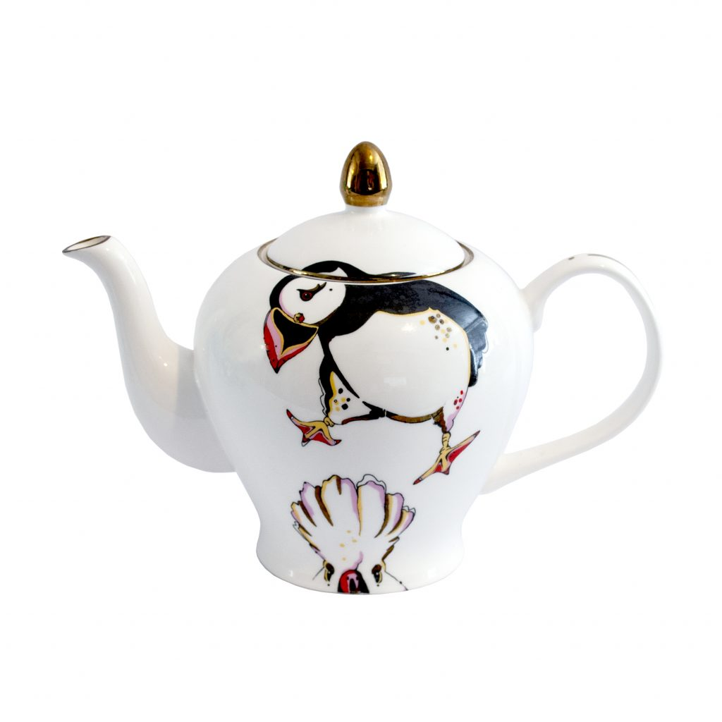 rare bird fina bone china teapot 22ct gold house of hopstock