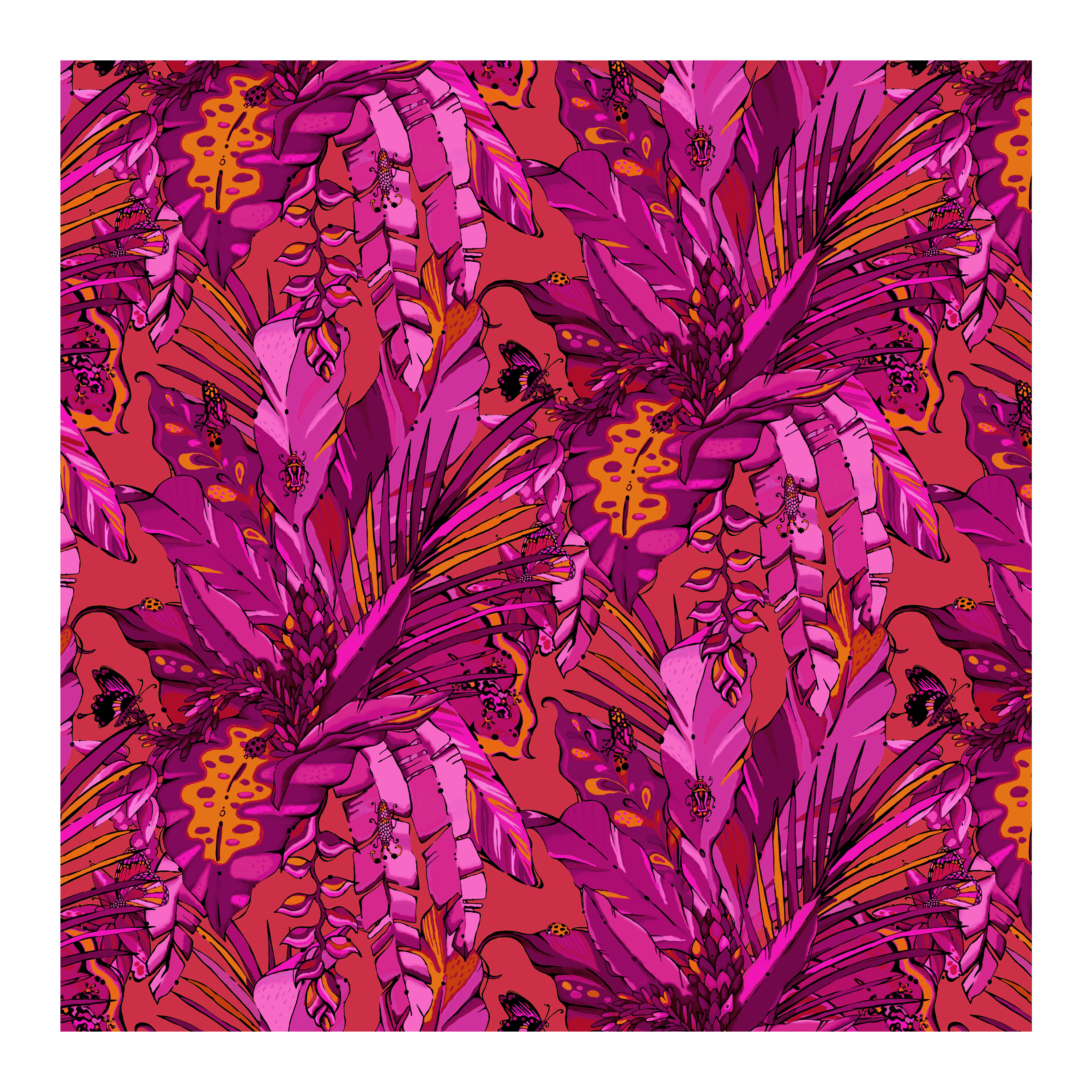 tropical jungle wallpaper red and pink wallpaper house of hopstock