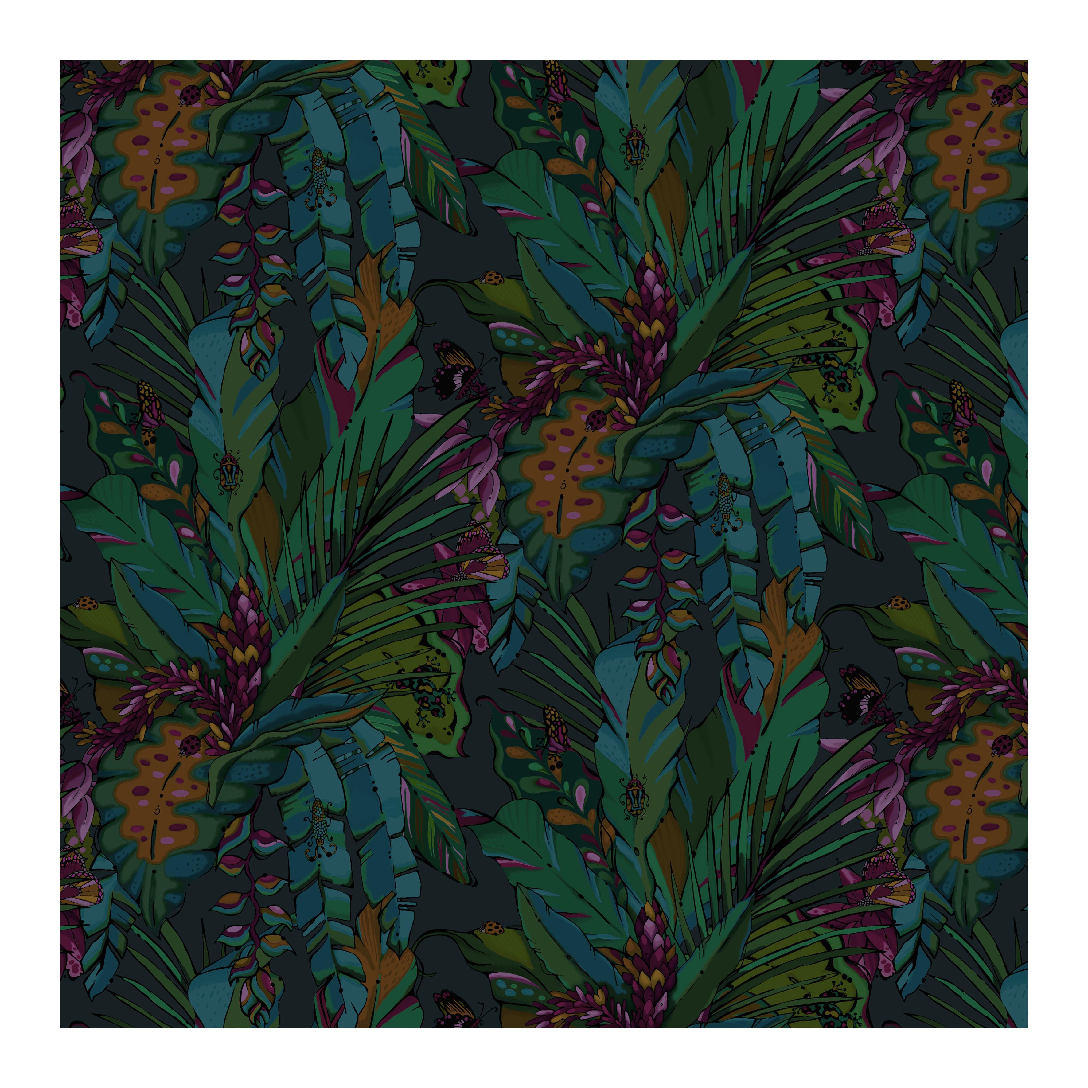 tropical jungle wallpaper tropicana nocturne house of hopstock